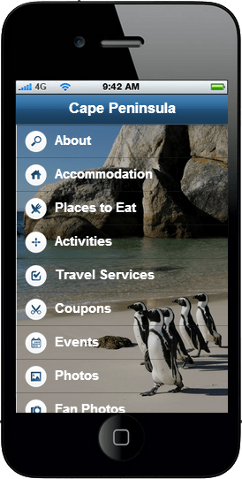 Cape Peninsula Mobile App - Find Mariner Guest House on your cell phone! Holiday Accommodation.